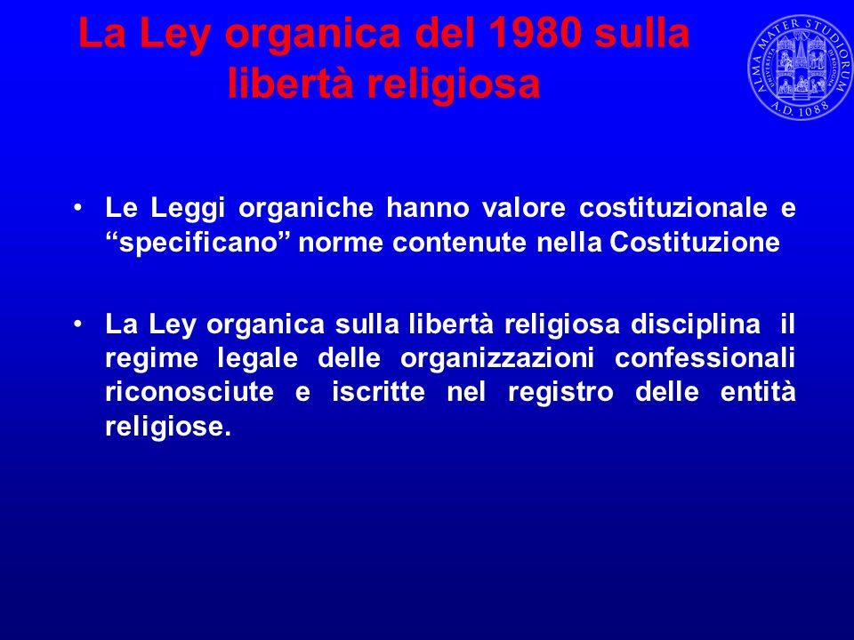 La Ley organica del 1980 sulla libertà religiosa