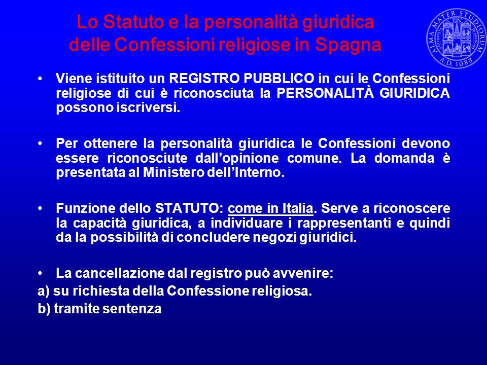 Lo Statuto e la personalità giuridica delle Confessioni religiose in Spagna