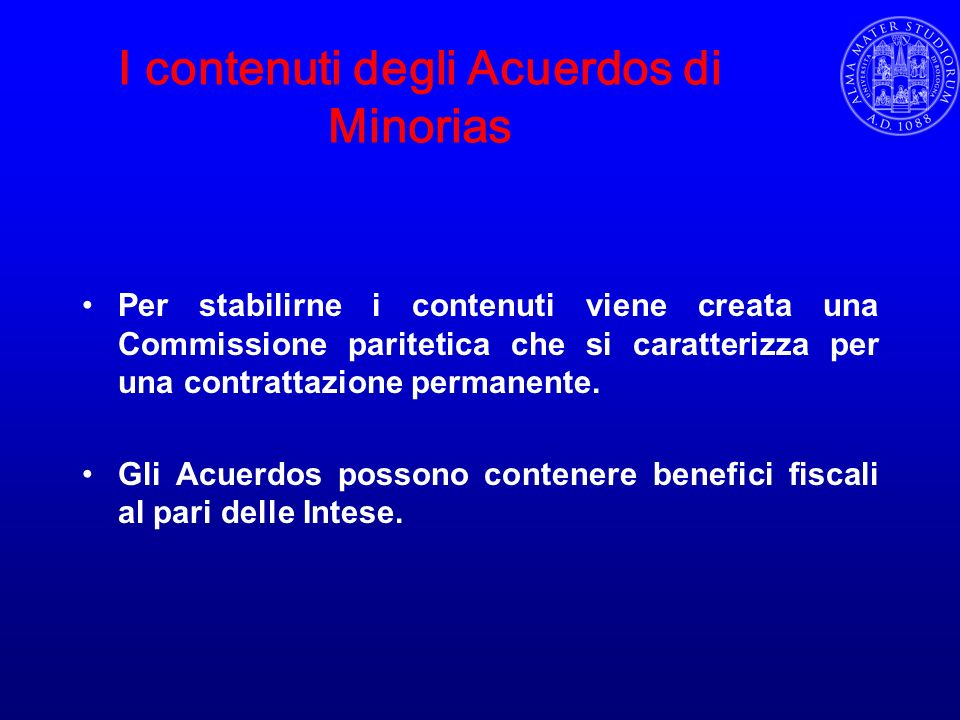 I contenuti degli Acuerdos di Minorias