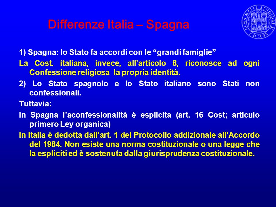 Differenze Italia – Spagna
