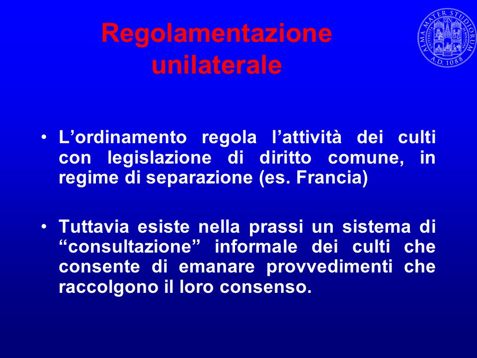 Regolamentazione unilaterale