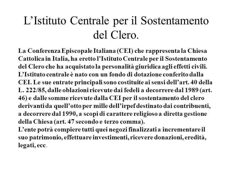 L'Istituto Centrale per il Sostentamento del Clero.