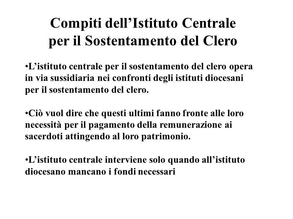 Compiti dell'Istituto Centrale per il Sostentamento del Clero
