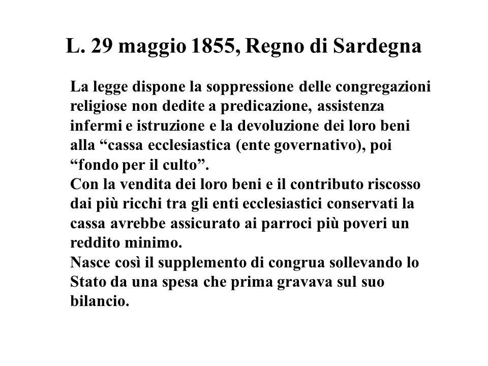 L. 29 maggio 1855, Regno di Sardegna