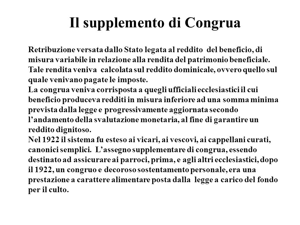 Il supplemento di Congrua