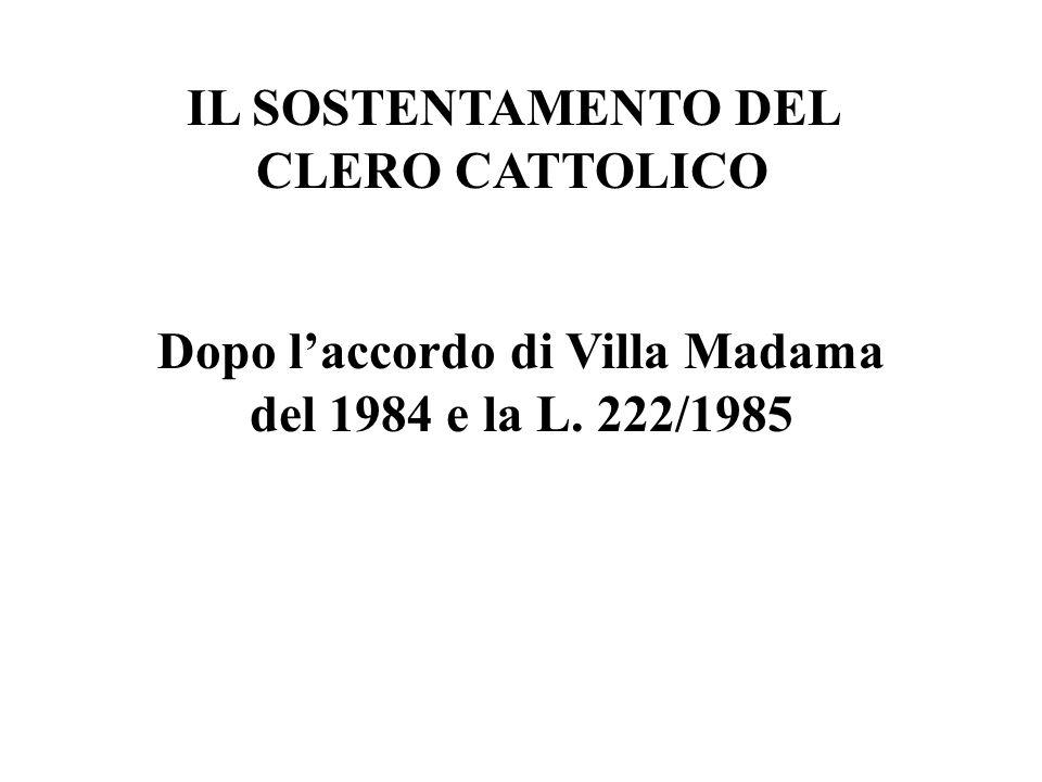 IL SOSTENTAMENTO DEL CLERO CATTOLICO