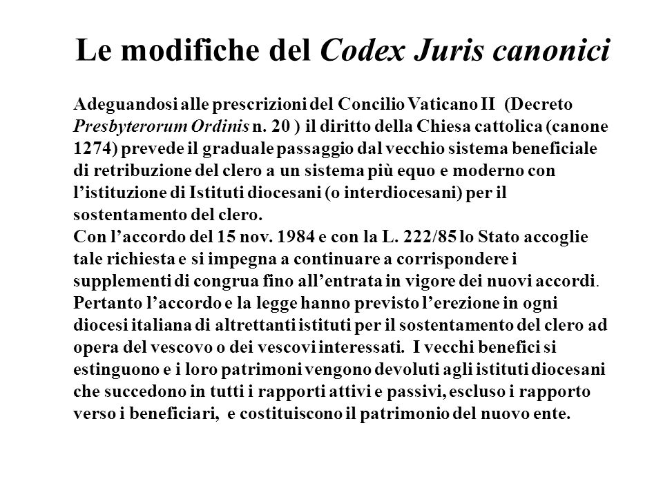 Le modifiche del Codex Juris canonici