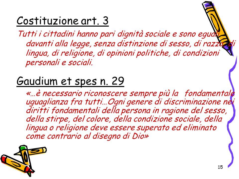 Costituzione art. 3 Gaudium et spes n. 29
