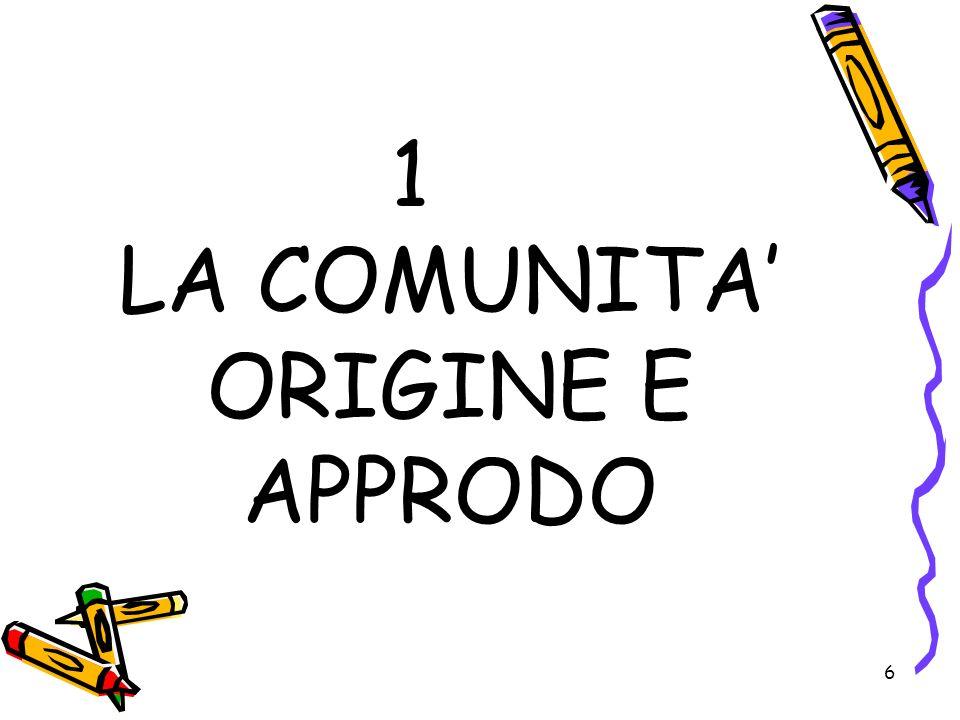 1 LA COMUNITA' ORIGINE E APPRODO