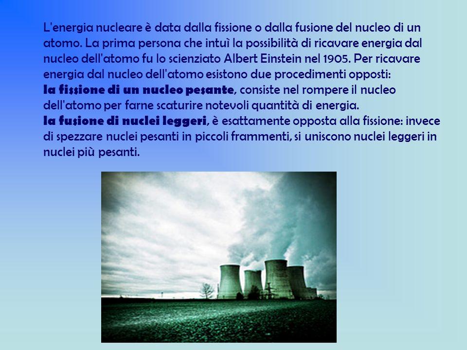 L energia nucleare è data dalla fissione o dalla fusione del nucleo di un atomo.