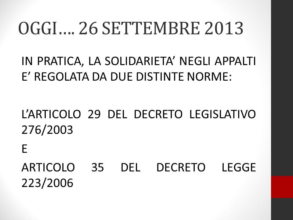OGGI…. 26 SETTEMBRE 2013