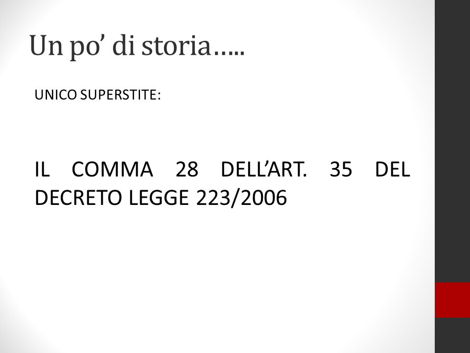 Un po' di storia….. UNICO SUPERSTITE: IL COMMA 28 DELL'ART. 35 DEL DECRETO LEGGE 223/2006