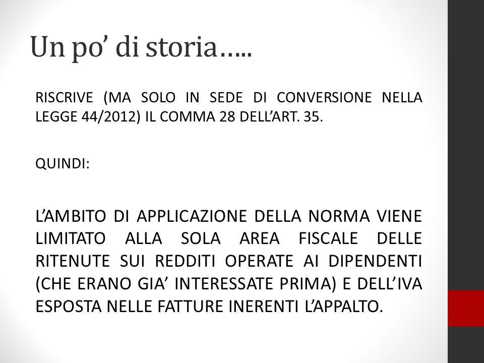 Un po' di storia….. RISCRIVE (MA SOLO IN SEDE DI CONVERSIONE NELLA LEGGE 44/2012) IL COMMA 28 DELL'ART. 35.