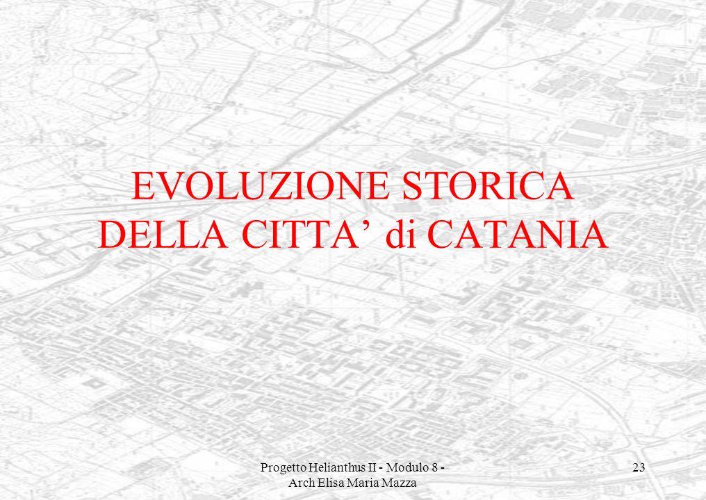 EVOLUZIONE STORICA DELLA CITTA' di CATANIA