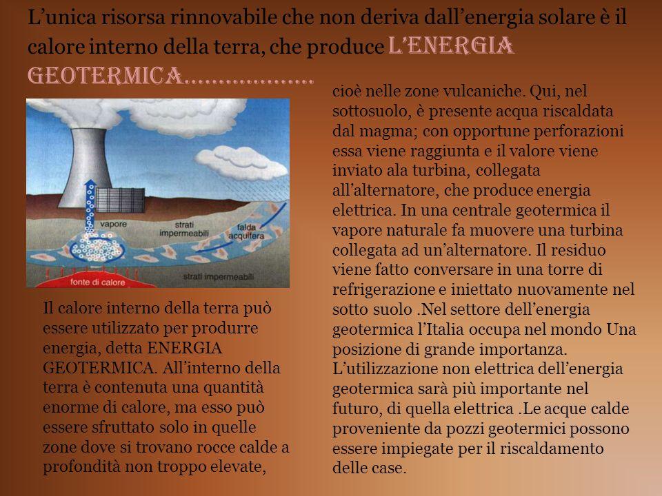 L'unica risorsa rinnovabile che non deriva dall'energia solare è il calore interno della terra, che produce L'ENERGIA GEOTERMICA……………….