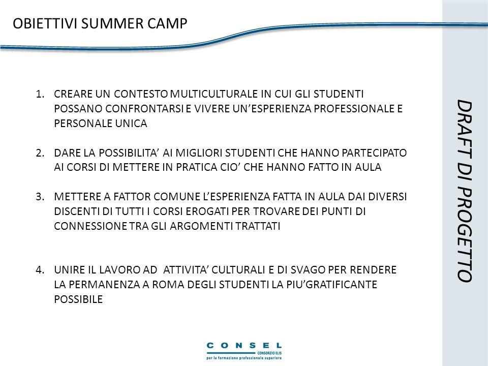 DRAFT DI PROGETTO OBIETTIVI SUMMER CAMP