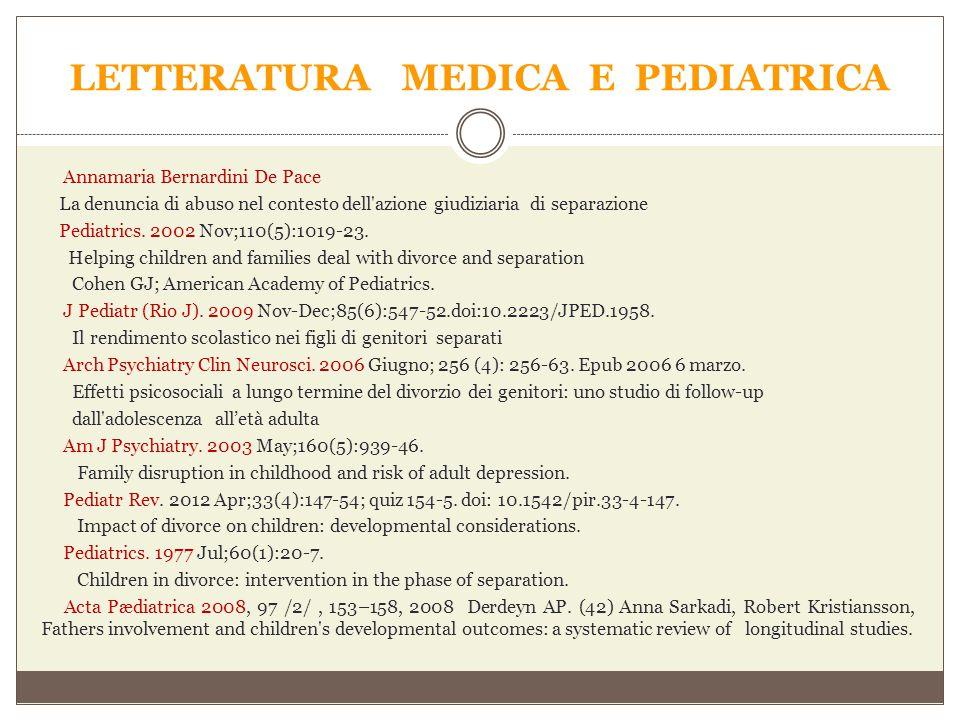LETTERATURA MEDICA E PEDIATRICA