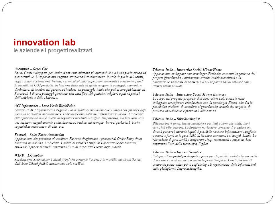 innovation lab le aziende e i progetti realizzati