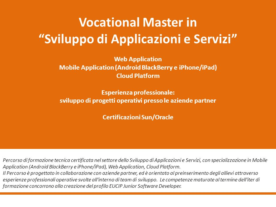 Vocational Master in Sviluppo di Applicazioni e Servizi