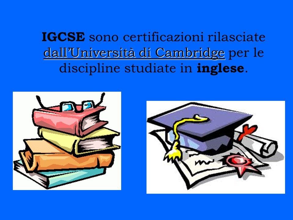 IGCSE sono certificazioni rilasciate dall'Università di Cambridge per le discipline studiate in inglese.