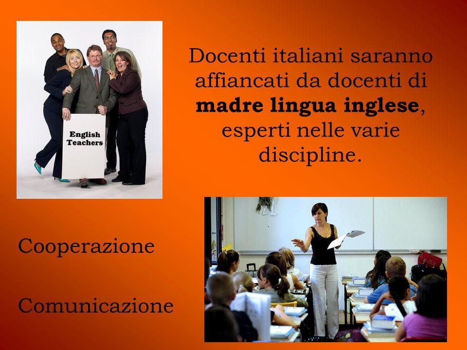 Docenti italiani saranno affiancati da docenti di madre lingua inglese, esperti nelle varie discipline.