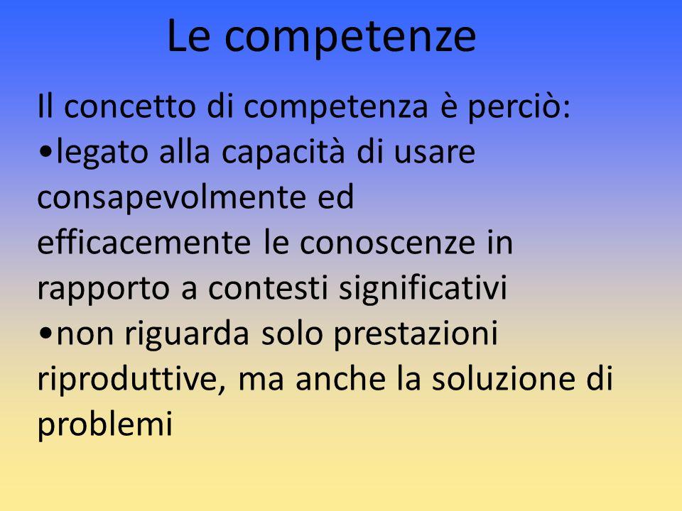 Le competenze Il concetto di competenza è perciò: