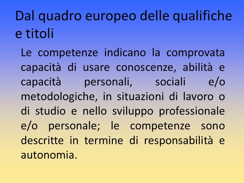 Dal quadro europeo delle qualifiche e titoli