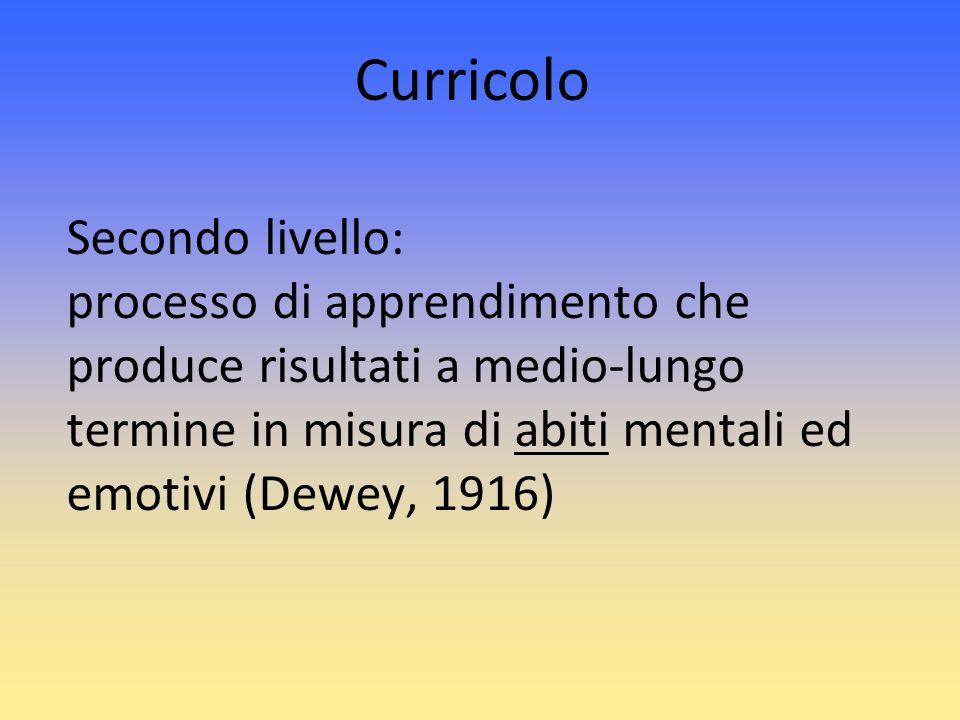 Curricolo Secondo livello: processo di apprendimento che produce risultati a medio-lungo termine in misura di abiti mentali ed emotivi (Dewey, 1916)