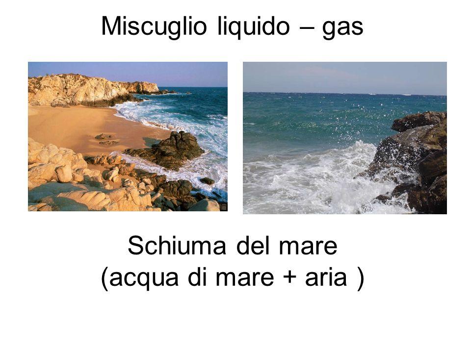 Miscuglio liquido – gas Schiuma del mare (acqua di mare + aria )