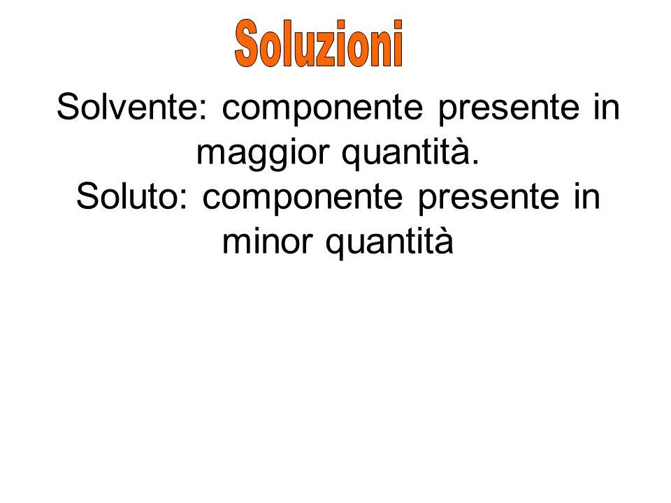Soluzioni Solvente: componente presente in maggior quantità.