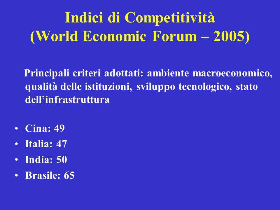 Indici di Competitività (World Economic Forum – 2005)