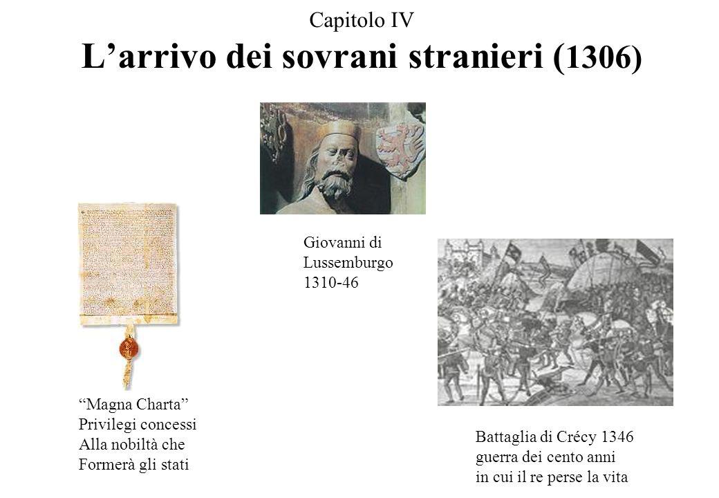 Capitolo IV L'arrivo dei sovrani stranieri (1306)