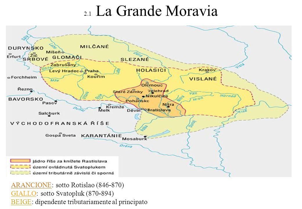 ARANCIONE: sotto Rotislao (846-870) GIALLO: sotto Svatopluk (870-894)