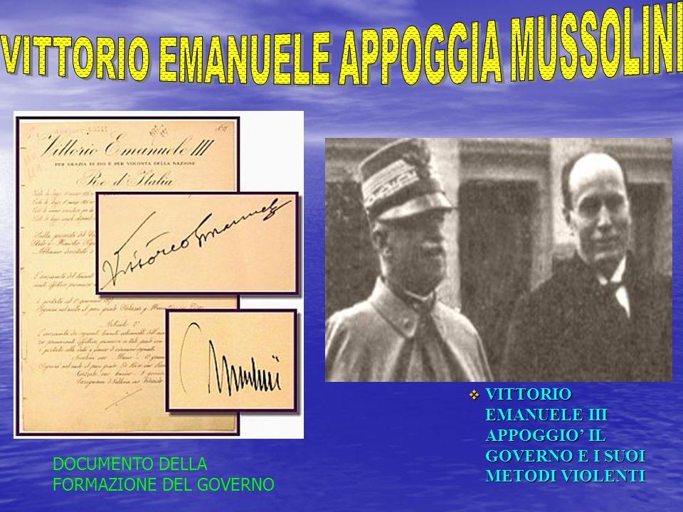 VITTORIO EMANUELE APPOGGIA MUSSOLINI