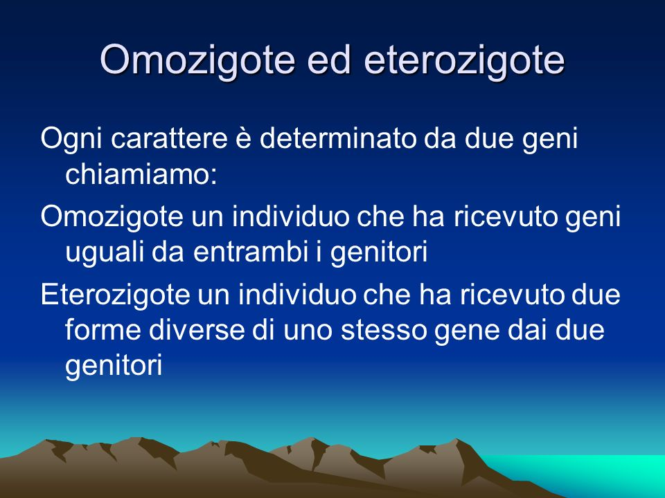 Omozigote ed eterozigote