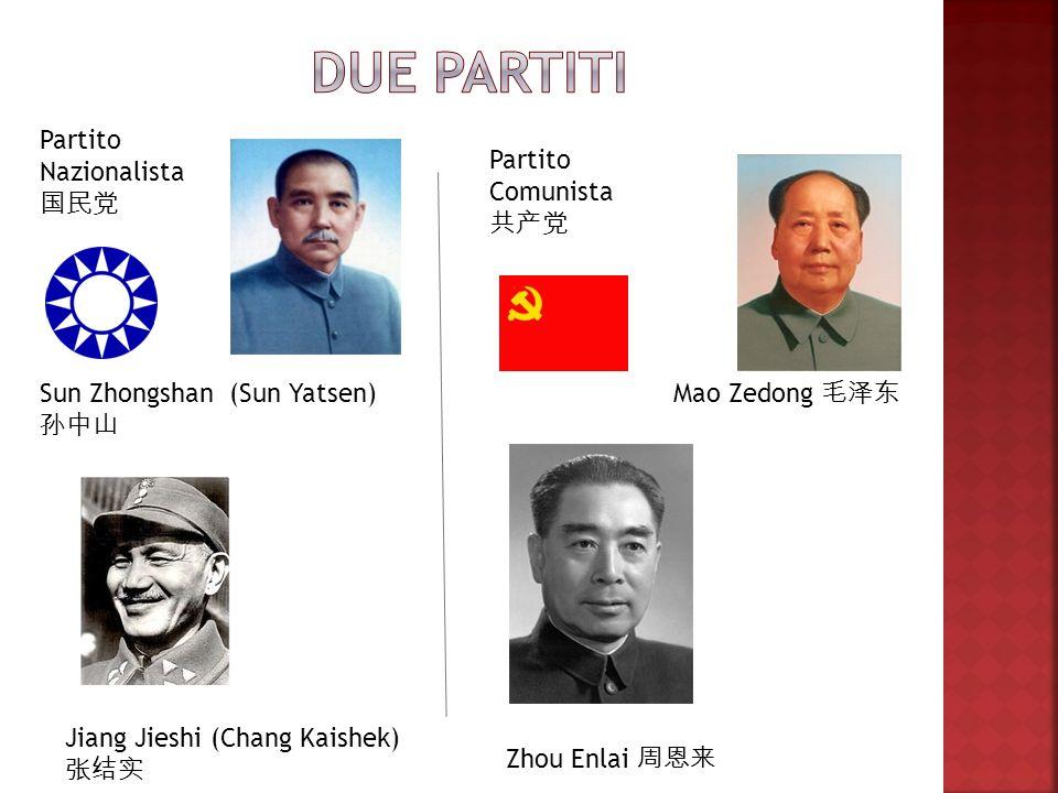 Due partiti Partito Nazionalista 国民党 Partito Comunista 共产党