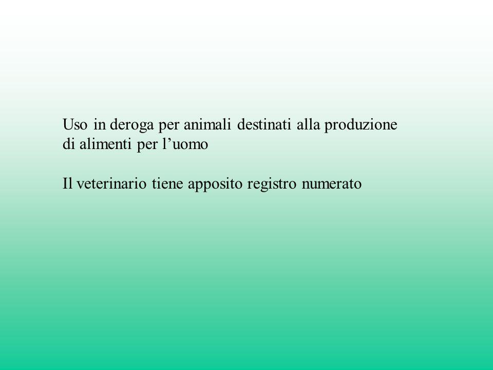 Uso in deroga per animali destinati alla produzione di alimenti per l'uomo