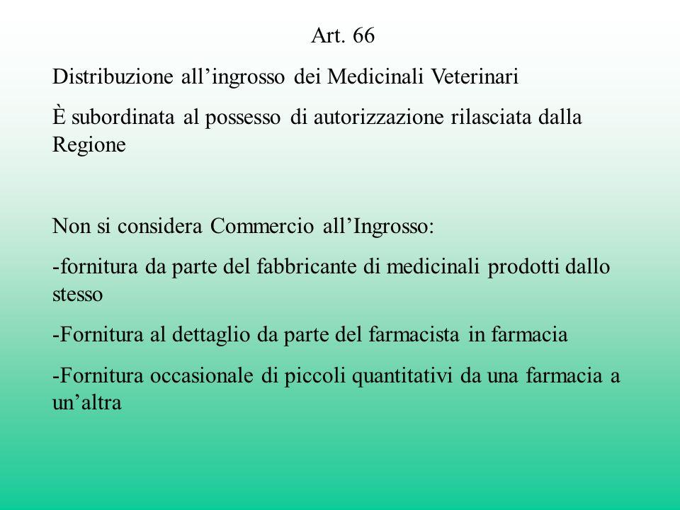 Art. 66 Distribuzione all'ingrosso dei Medicinali Veterinari. È subordinata al possesso di autorizzazione rilasciata dalla Regione.