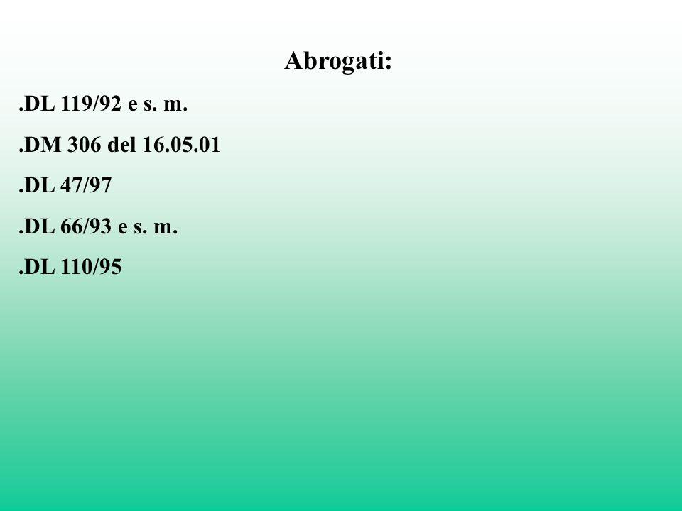Abrogati: .DL 119/92 e s. m. .DM 306 del 16.05.01 .DL 47/97