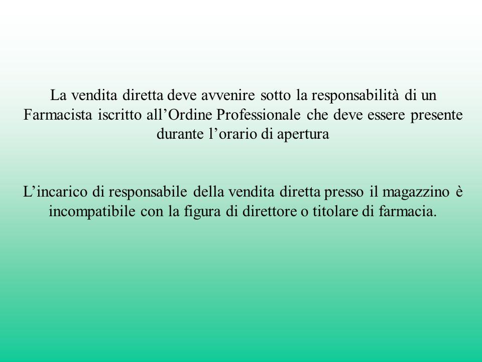 La vendita diretta deve avvenire sotto la responsabilità di un Farmacista iscritto all'Ordine Professionale che deve essere presente durante l'orario di apertura