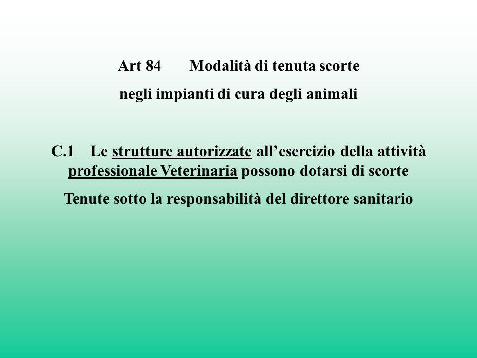 Art 84 Modalità di tenuta scorte negli impianti di cura degli animali