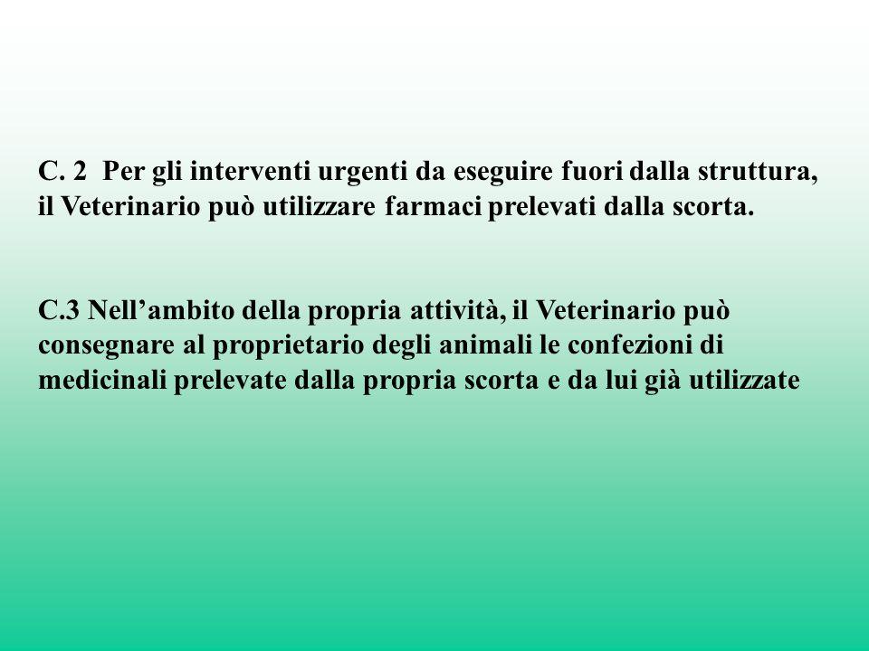 C. 2 Per gli interventi urgenti da eseguire fuori dalla struttura, il Veterinario può utilizzare farmaci prelevati dalla scorta.
