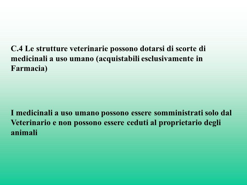 C.4 Le strutture veterinarie possono dotarsi di scorte di medicinali a uso umano (acquistabili esclusivamente in Farmacia)