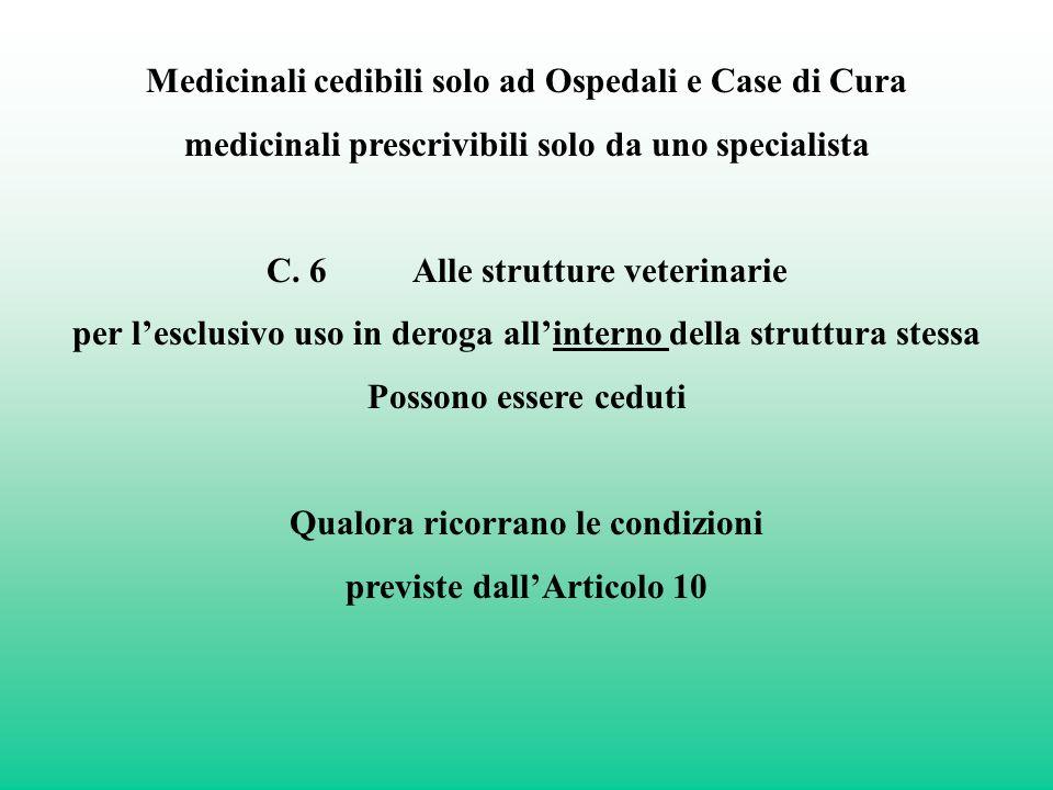 Medicinali cedibili solo ad Ospedali e Case di Cura