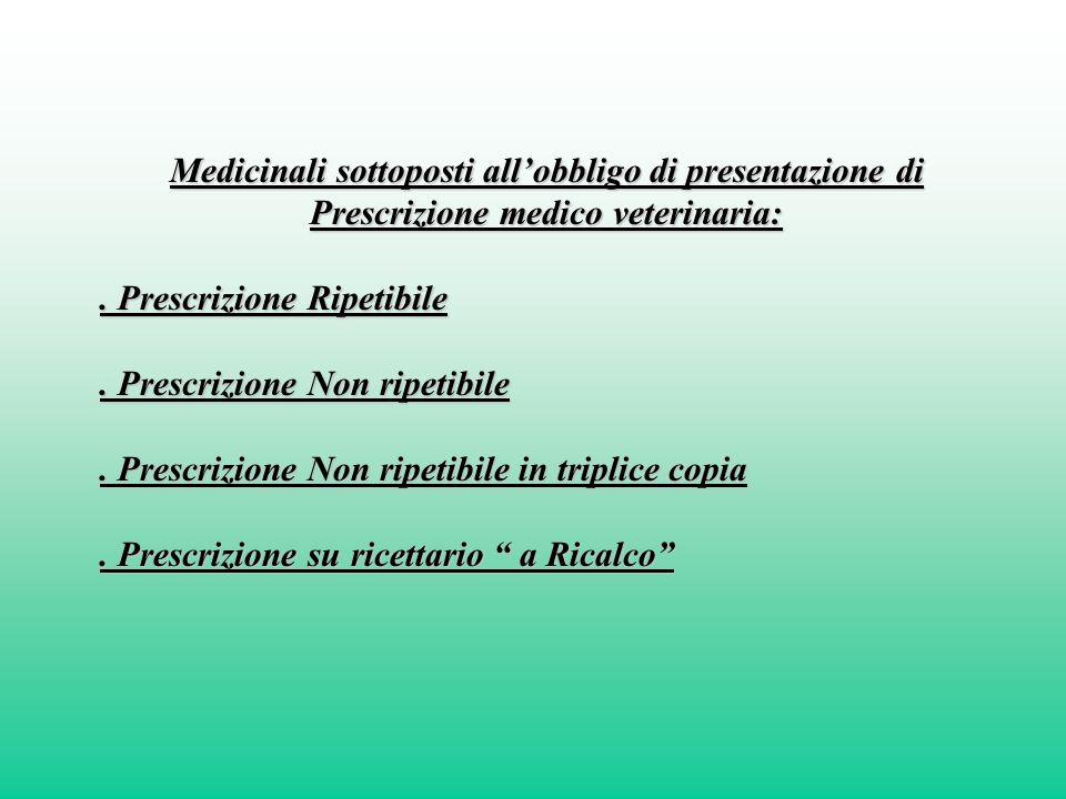 Medicinali sottoposti all'obbligo di presentazione di
