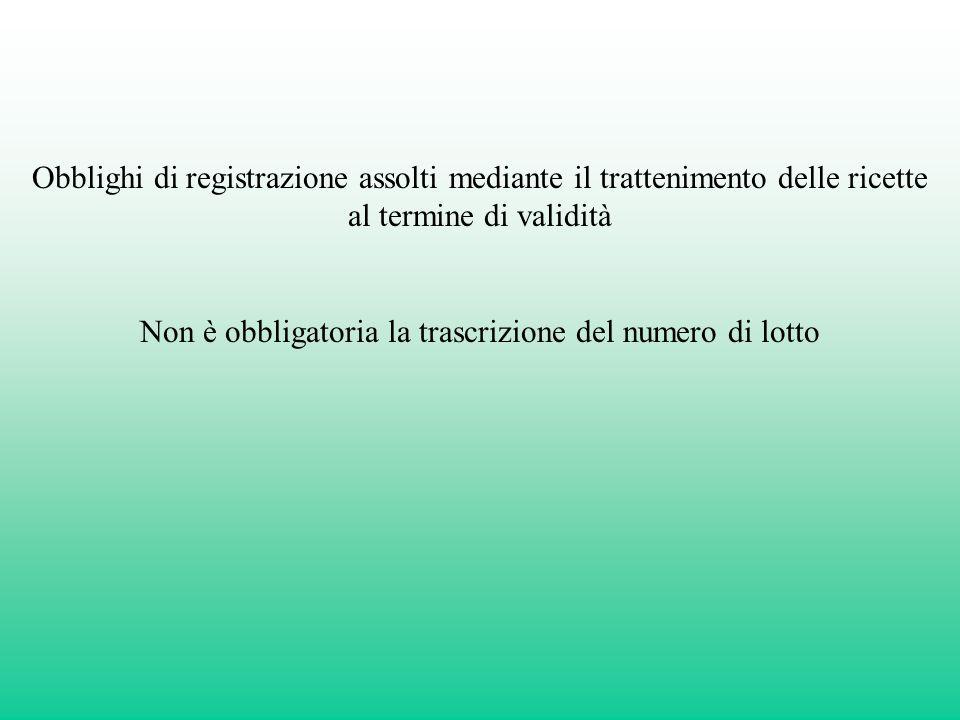 Non è obbligatoria la trascrizione del numero di lotto