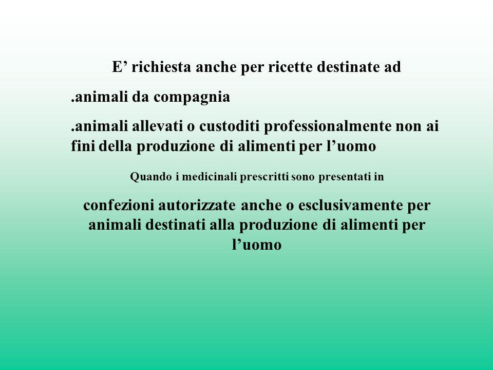 E' richiesta anche per ricette destinate ad .animali da compagnia