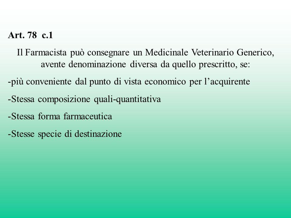 Art. 78 c.1 Il Farmacista può consegnare un Medicinale Veterinario Generico, avente denominazione diversa da quello prescritto, se: