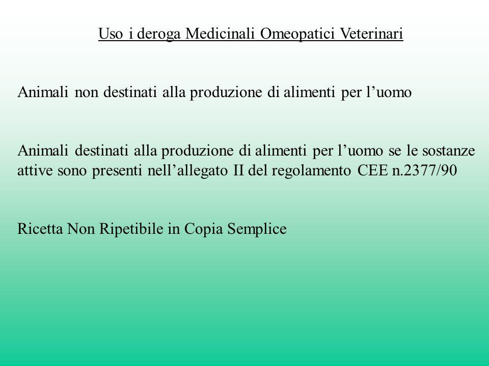 Uso i deroga Medicinali Omeopatici Veterinari