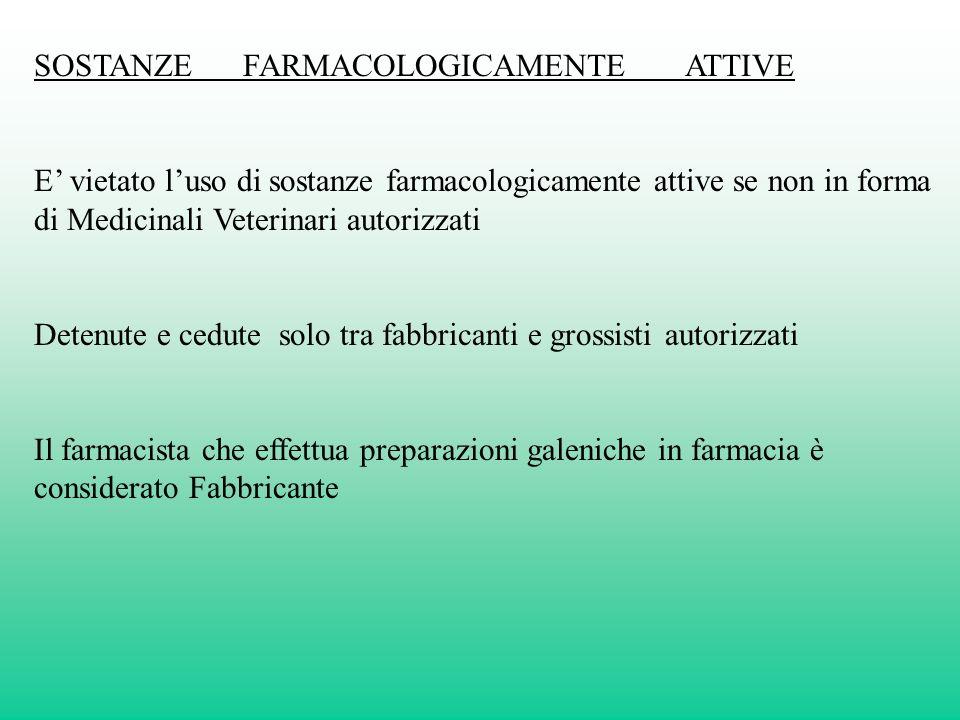 SOSTANZE FARMACOLOGICAMENTE ATTIVE